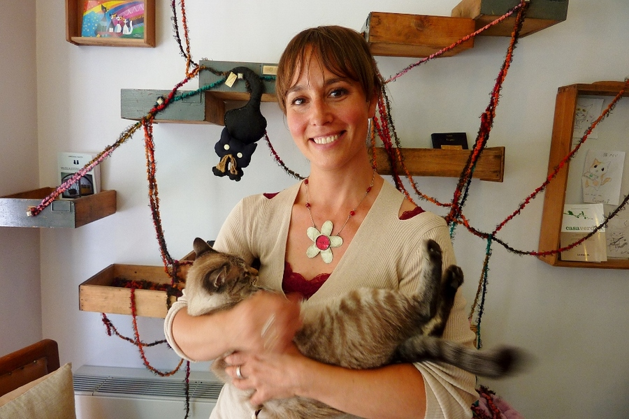 Andrea Levine, founder and owner of MiaGola, Turin's cat cafè