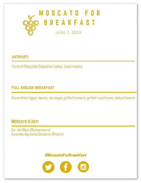 Moscato for Breakfast menu