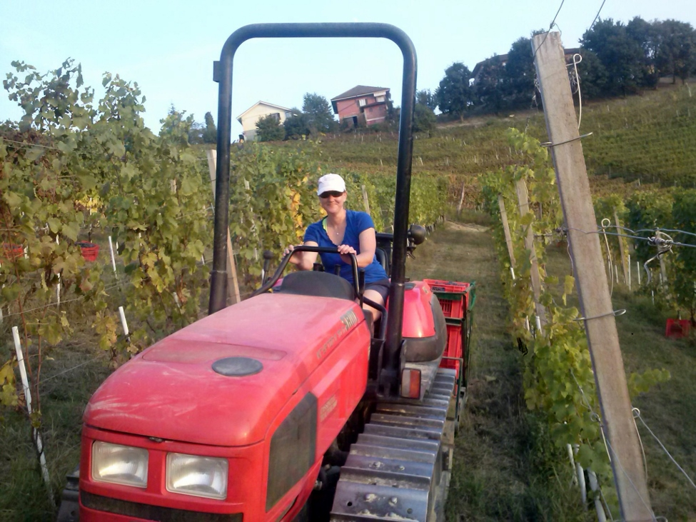 Greta Corona from La Famiglia Corona in Louisiana helping to drive the grapes home