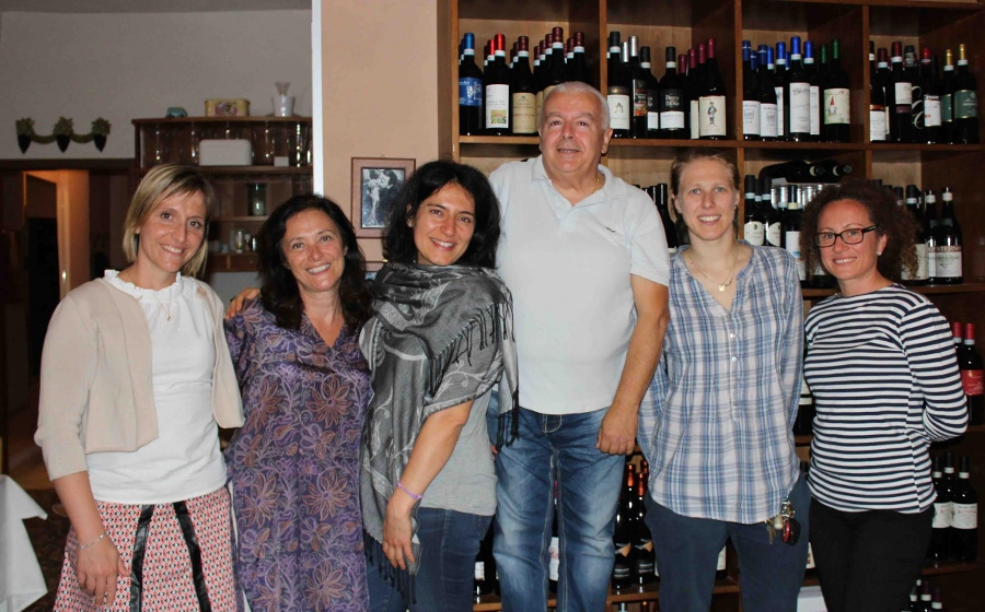 """Langhe ladies Paola Grasso, Chiara Boschis, Elisa Scavino, Marta Rinaldi and Silvia Altare (left to right) with Maurilio Chiapetto at La Cantinetta in Barolo"""